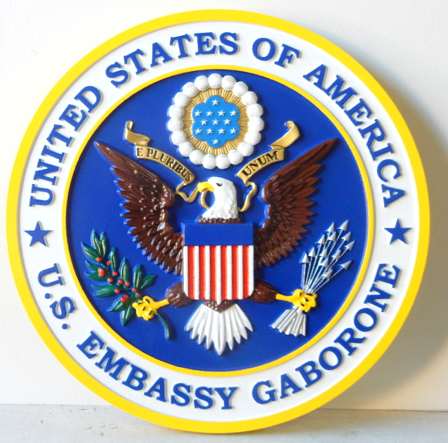 U30330 - Wall Plaque of US Embassy in Gabarone