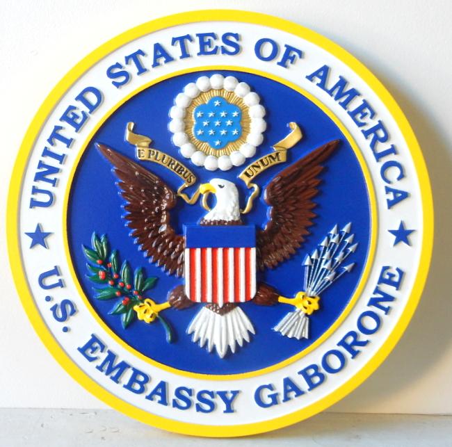U30330 - Wall Plaque of US Embassy in Gabarone