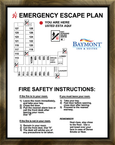 Hotel Escape Plan Full Color Laminated Print