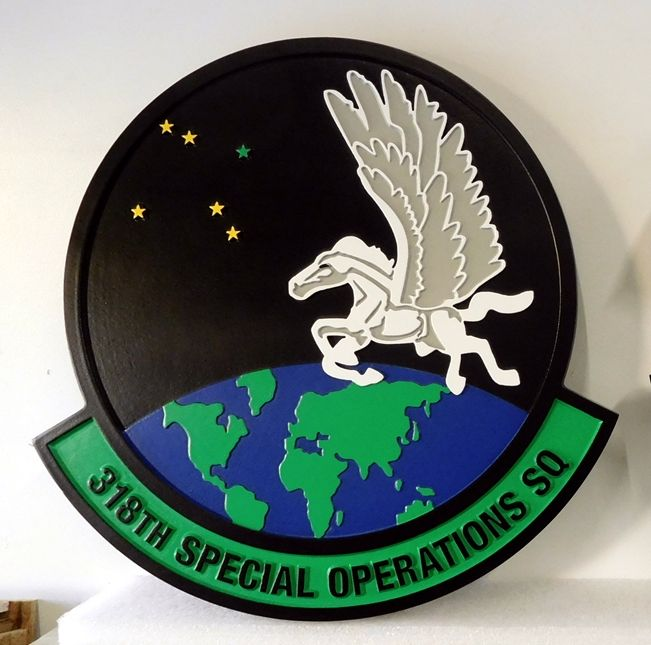 V31630A - Carved Wall Plaque of the Crest for the USAF 318th Special Operations Squadron
