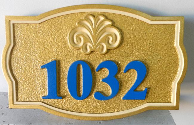 I18886 - Elegant Gold Carved House Address Sign