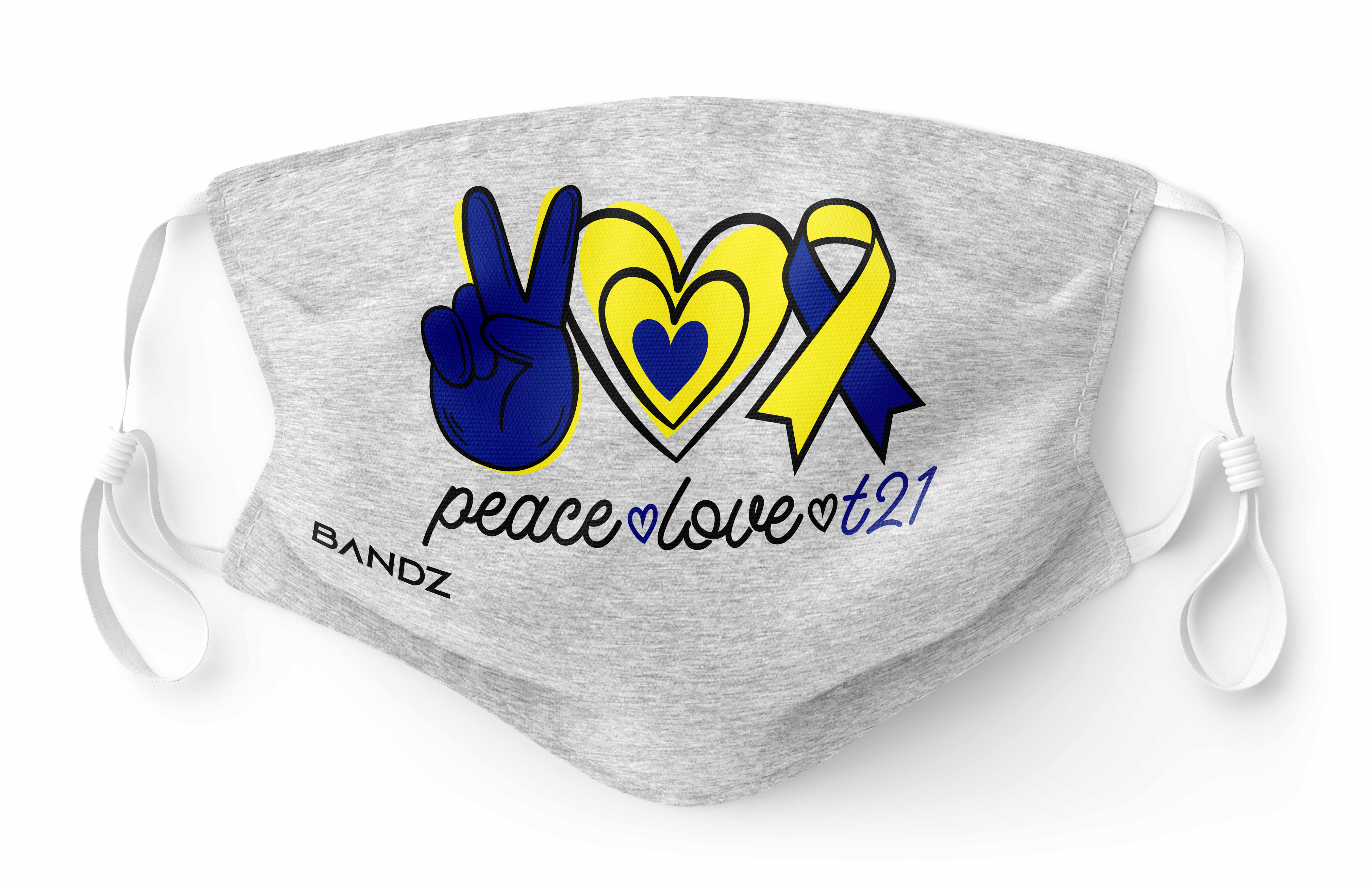 Peace Love T21 Logo Mask