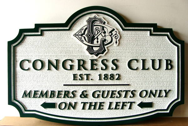 E14144 - Carved and Sandblasted Directional Sign for Congress Country Club, with Logo
