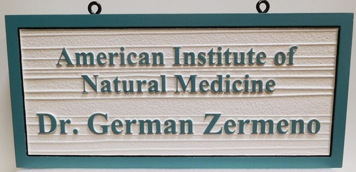 """B11085 - Carved and Sandblasted 2.5-D Wood Grain Sign for the """"American Institute of Natural Medicine"""""""