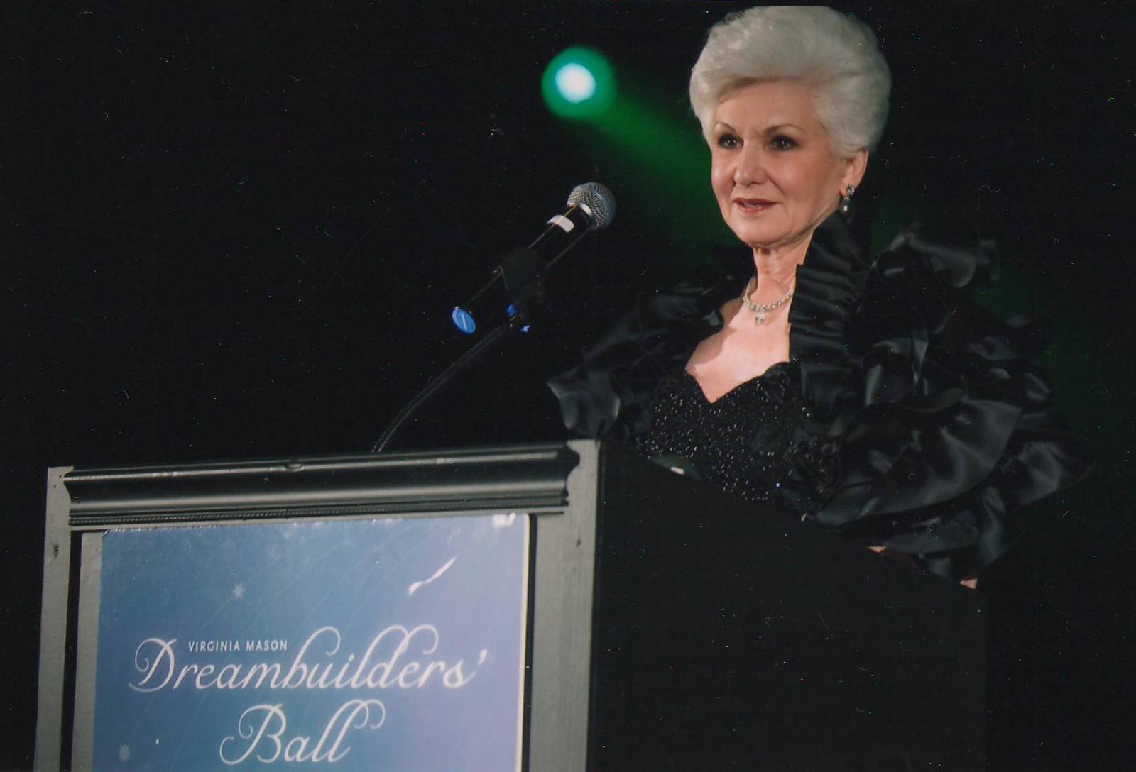 Becky speaking at the Virginia Mason Foundation Dreambuilder's Ball.