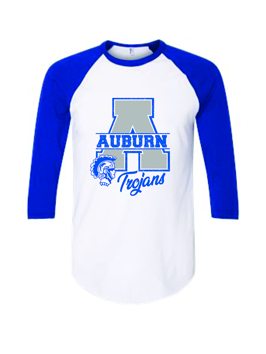 Men's Three-Quarter Sleeve T-Shirt (White with Blue Sleeves)