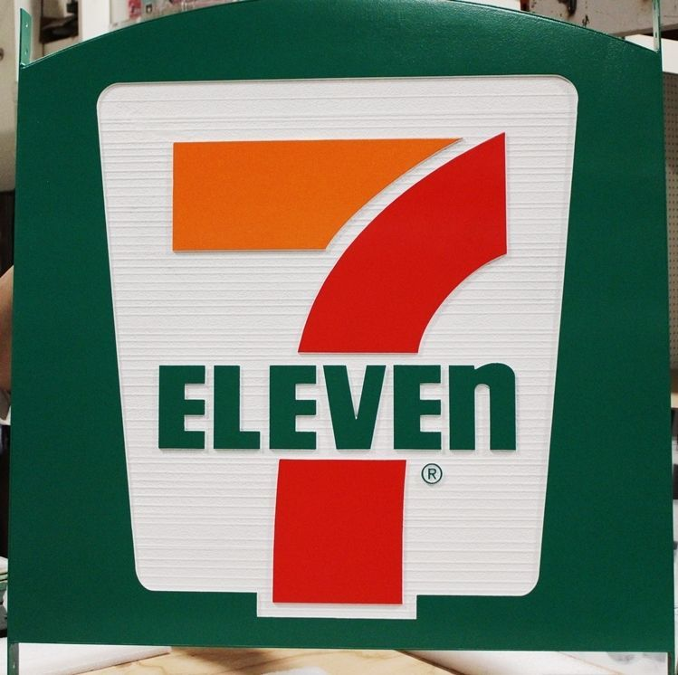 S28005B - Large Carved and Sandblasted Wood Grain  HDU Commercial Sign  for a 7-Eleven Store, 2.5-D Artist-Painted