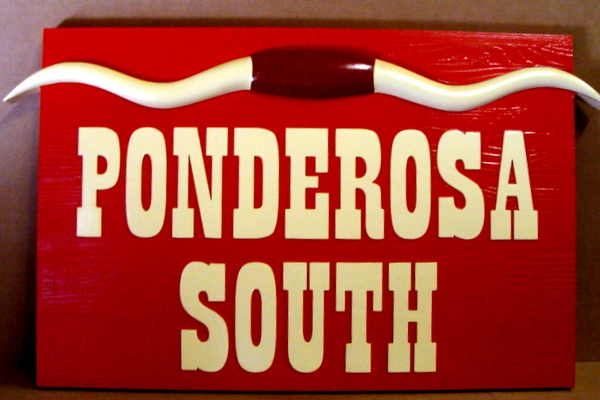 "O24134 - Carved Cedar Wood Ranch Sign ""Ponderosa South"" with 3-D Carved Longhorns"