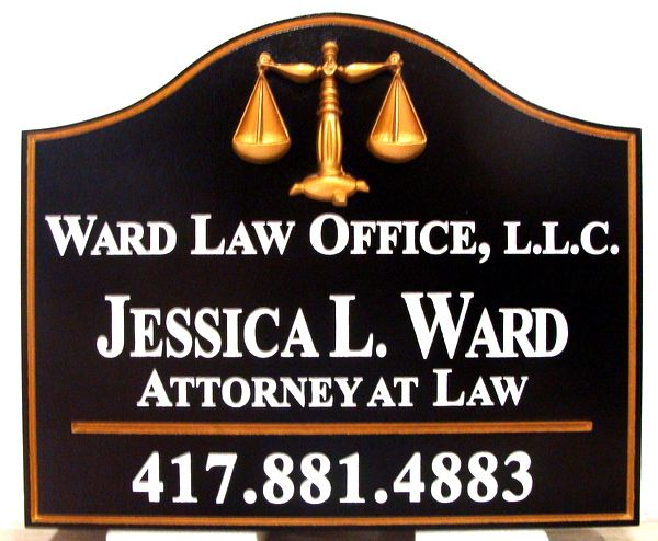 A10320 - Carved  Law Office Sign with Scales of Justice