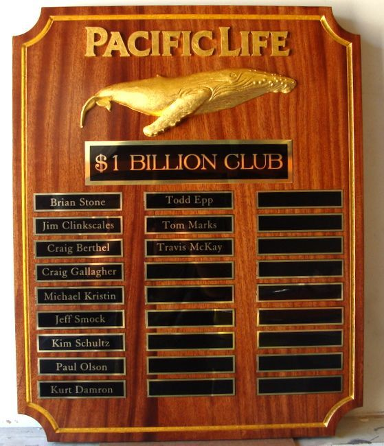 SB1190 - Award  Plaque for Pacific Life Insurance Sales Executives with $1 Billion in Sales, Carved from African Mahogany with 3-D Carved 24K Gold-leaf Gilded Whale