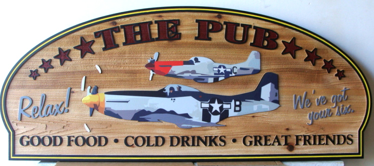 "Q25733 - Carved Cedar Restaurant Sign ""The Pub"" with WWII Fighter Aircraft"