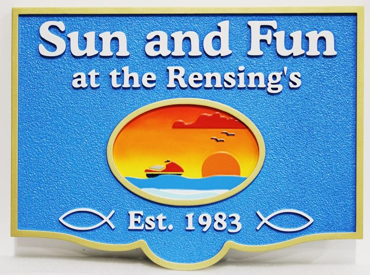 "L21233 - Carved and Sandblasted HDU Coastal Residence Sign, ""Sun and Fun"", with a Wave-runner and a Sunset over the Ocean"