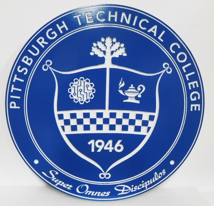 RP-1080 - Carved Plaque of the Seal of the Pittsburg Technical College , 2.5-D Engraved Painted