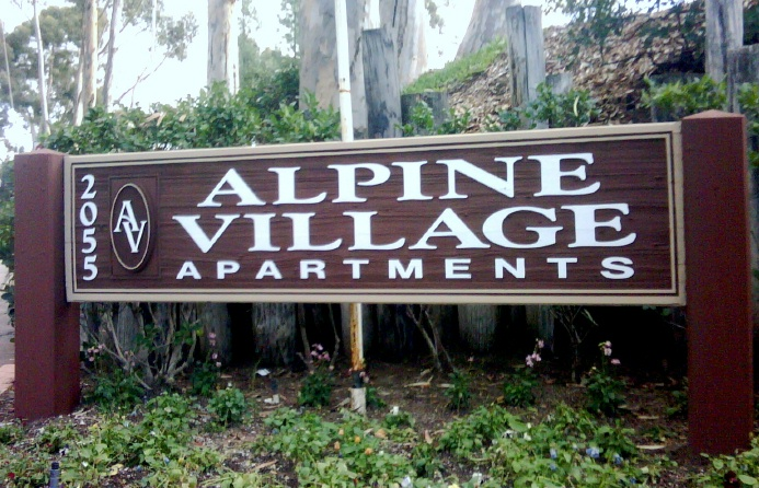 K20084 - Redwood Monument Sign for Alpine Village Apartments, HDU Logo, Redwood Sign Pillars
