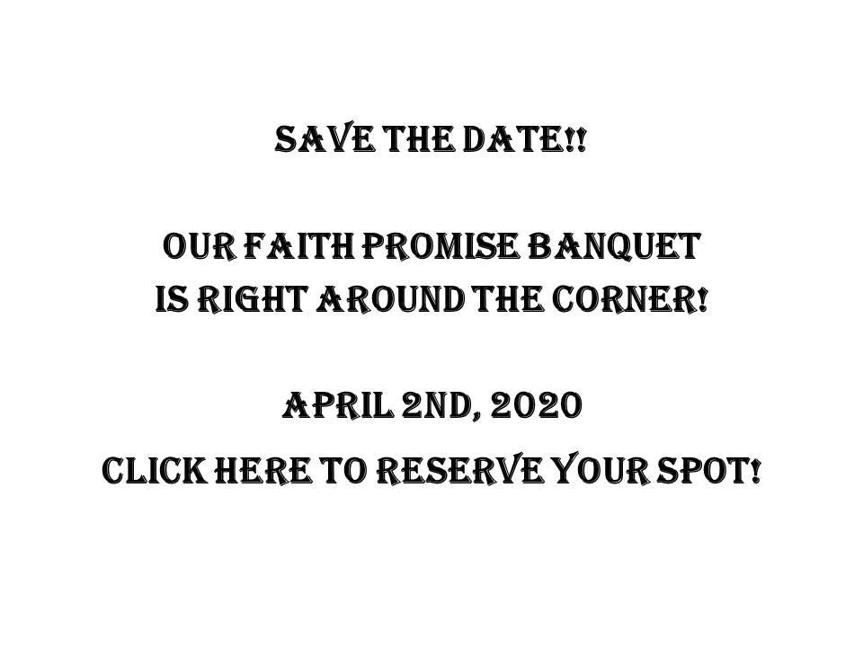 2020 Faith Promise Banquet!