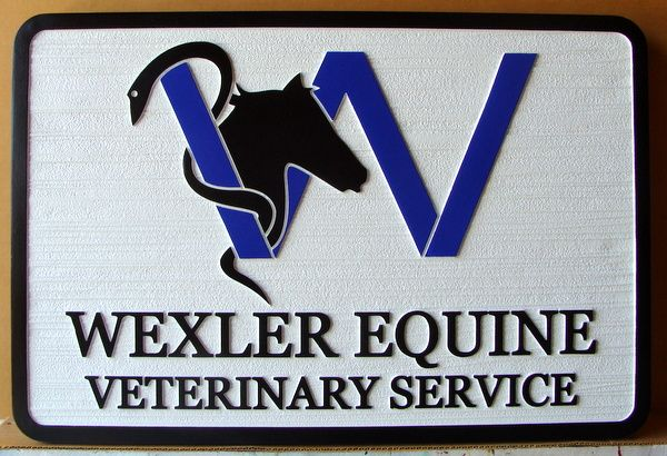 BB1753 -  Carved HDU Equine Veterinary Service Sign with Image of a Horse and Caduceus
