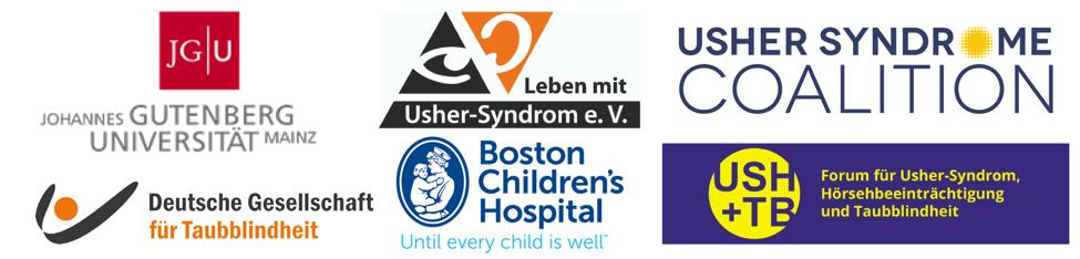USH2018 Partner logos: Johannes Gutenberg Universitat Mainz, Deutsche Gesellschaft fur Taubblindheit, Boston Children's Hospital, Usher Syndrome Coalition, Leben mit Usher-Syndrom e.V., USH+TB Forum fur Usher-syndrom, Horsehbeeintrachtigung und Taubblindh