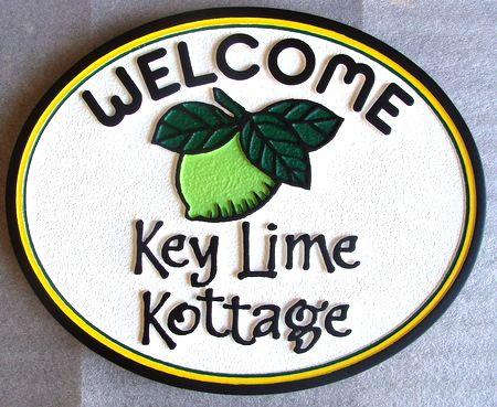 """L21814 - Florida Cottage Sign """"Key Lime Kottage"""" with Key Lime"""