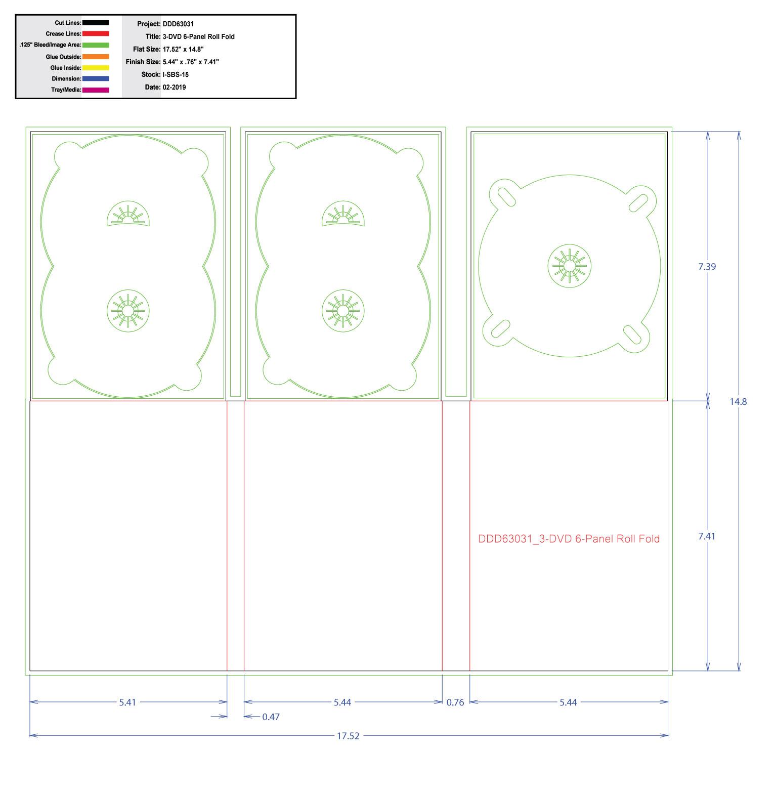 DDD63031 DVD 6 Panel Digi 3 Tray, No Pocket