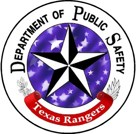 X33710- Carved Wood Wall Plaque of Emblem for Texas Rangers, Dept. of Piblic Safety, with Lone Star