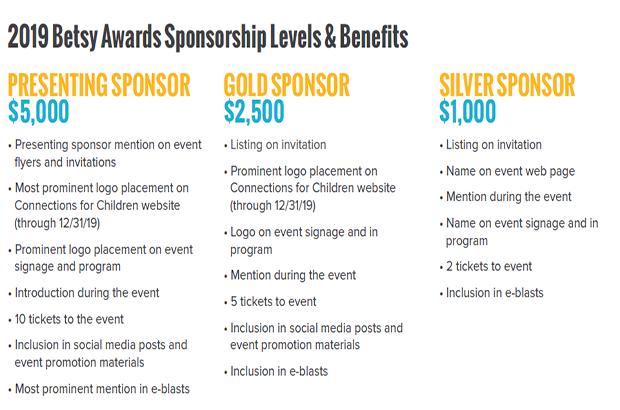 2019 Betsy Awards Sponsorship Opportunities!