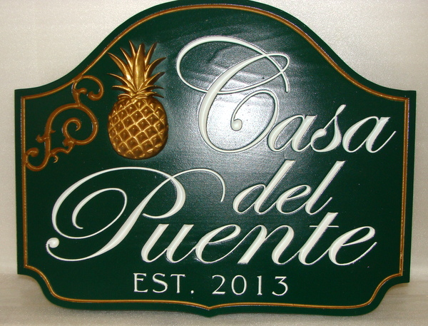 I18466 - Elegant Engraved Wood Estate Sign, with Pineapple