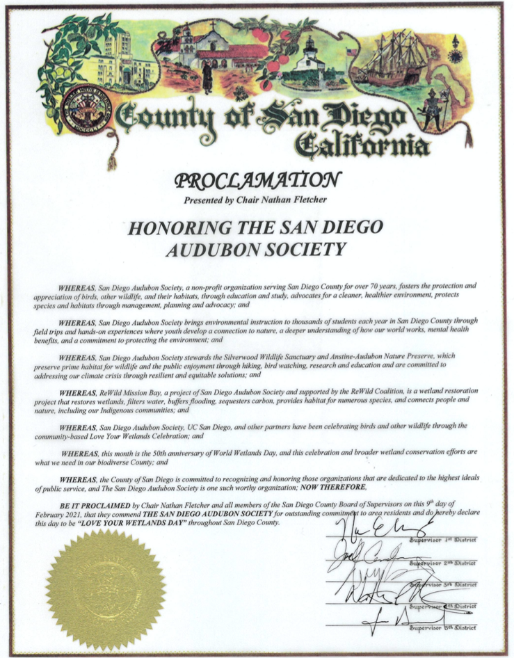 "County Board of Supervisors Declares ""Love Your Wetlands Day"""