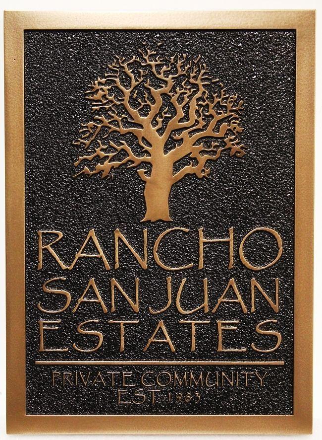 K20235 - Carved Copper-Plated HDU Entrance Sign to Rancho San Juan Estates
