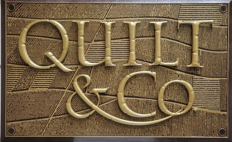 S27998 - Carved 3D Bas-Relief Bronze-Plated Sign for Quilt & Company