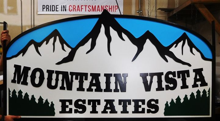 "K20335 - Carved HDU Entrance Sign  for  the ""Mountain Vista Estates"" Condominium"