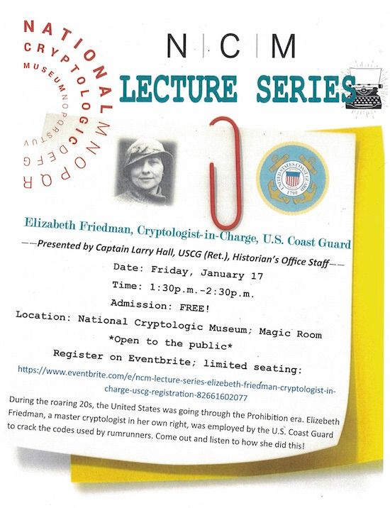 NCM Lecture Series: Elizebeth Friedman, Cryptologist-in-Charge, U.S. Coast Guard