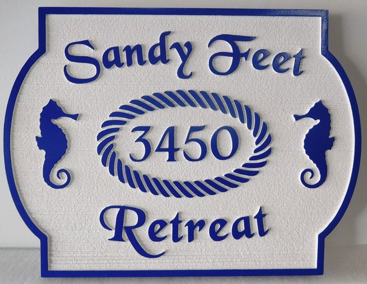 """L21549 - Carved and  Sandblasted 2.5-D Address Number Plaque, for a Beach House, the """"Sandy Feet Retreat"""", with Seahorses as Artwork"""