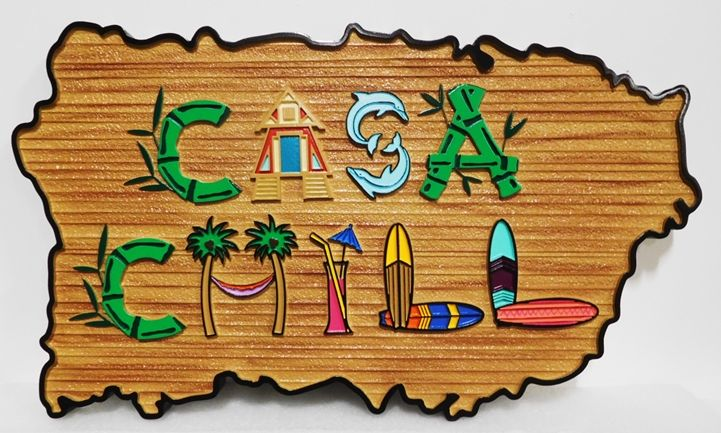 L21717 - Rustic Carved Sandblasted Wood Grain  Beach House Sign, 2.5-D Artist-Painted, with Beach House, Palm Trees, and Surfboards as Artwork