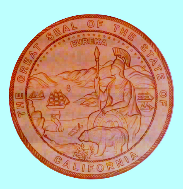 W32074 - Great Seal of California Carved 3D  Redwood Plaque