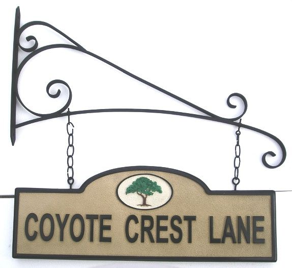 KA20660 - Carved HDU Sign for Street , Road or Lane with Carved Tree , Hung from Decorative Scroll  Bracket