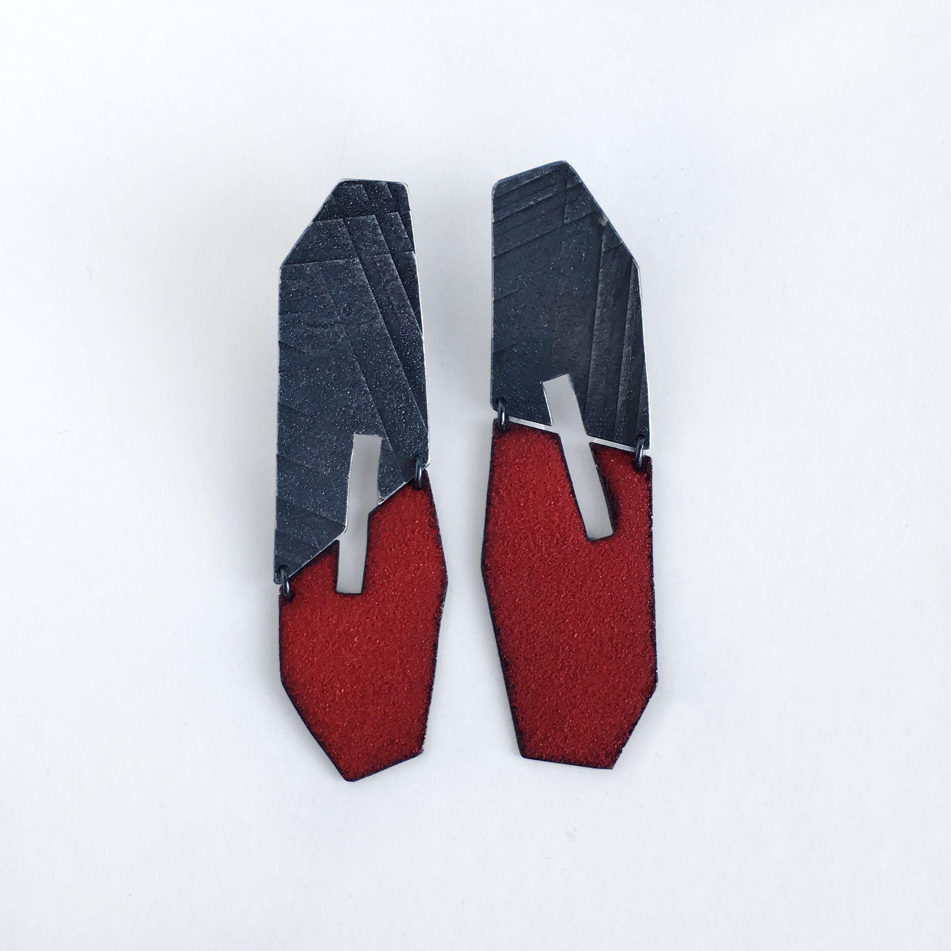 Mezzo Slice Enamel & Silver Earrings