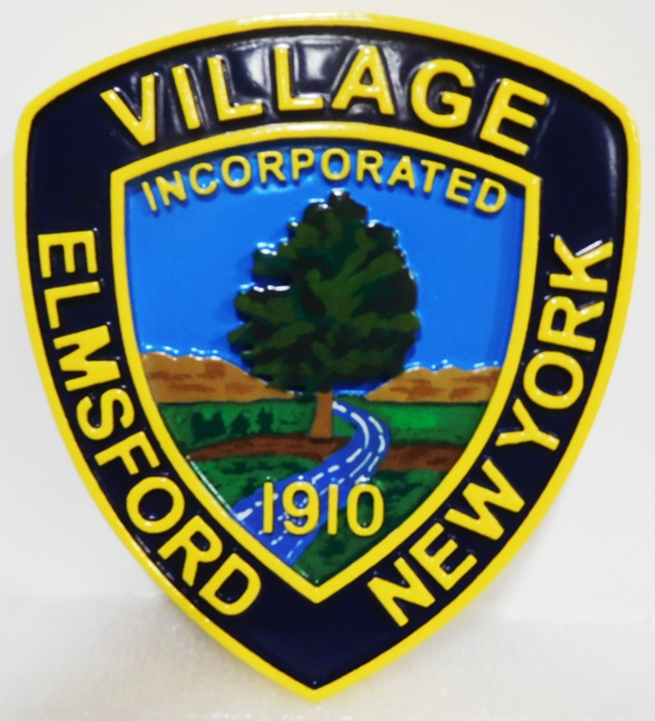 DP-1495 - Carved Wall or Podium plaque of the Seal of the Village of Elmsford, New York, 2.5-D Raised Relief, Artist-Painted