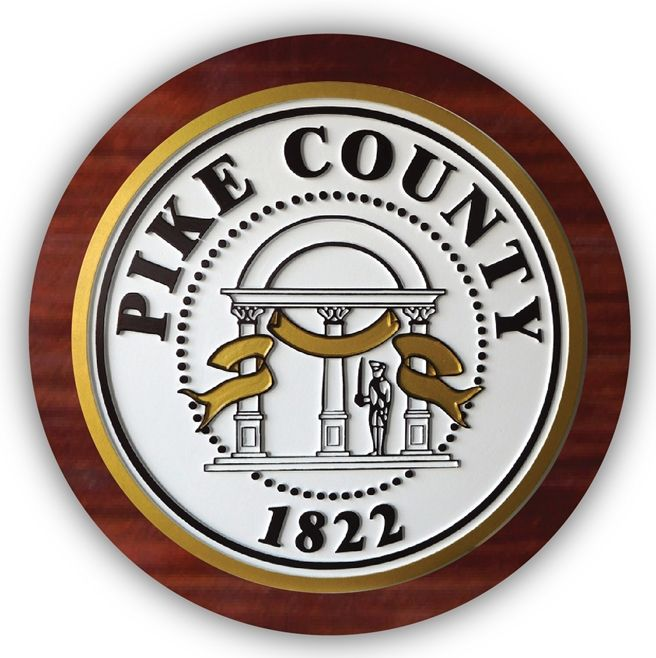 EA-2085 - Seal of Pike County  on Mahogany Plaque