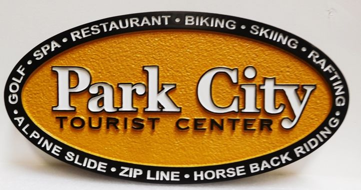 F15397 - Carved HDU  Sign for the  Park City Tourist Center in Utah, 2.5-D Artist-Painted