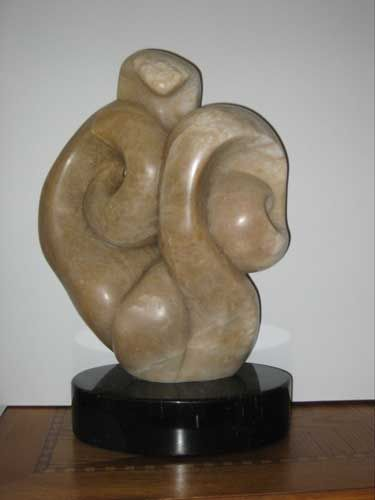 "Serpent, alabaster on marble base, 21"" x 13"" x12"""