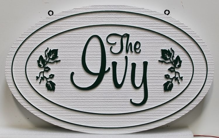"""I18253 - Carved and Sandblasted Wood Grain HDU Property Name Sign """"The Ivy"""""""