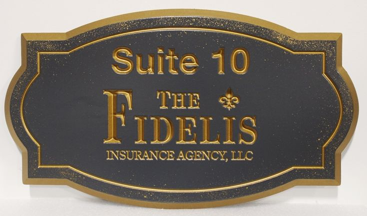 C12017 -  Engraved  Bronze-plated High-Density-Urethane (HDU) Sign for the Fidelis Insurance Agency.