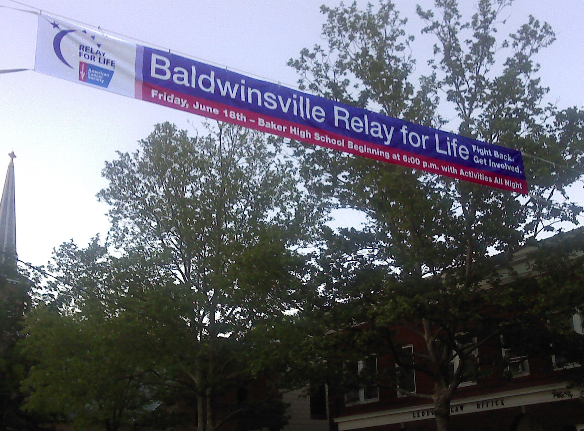 Baldwinsville Relay for Life Street Banner