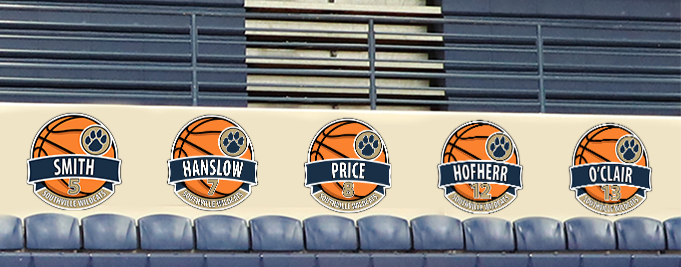 School gym with 5 roster signs for basketball, custom signs for high schools