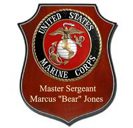 N23766- USMC Personalized Mahogany Shield  Plaque with Carved Emblem