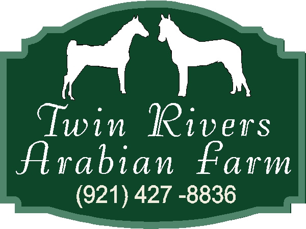 P25200 - Design of a Sandblasted Cedar Arabian Farm Sign, with Two Horses in Silhouette
