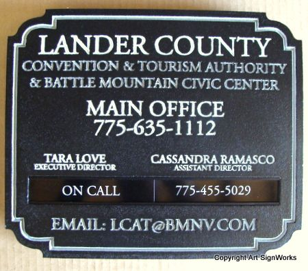 F15480 - Convention, Tourism & Civic Center Sign with Replaceable Plaques