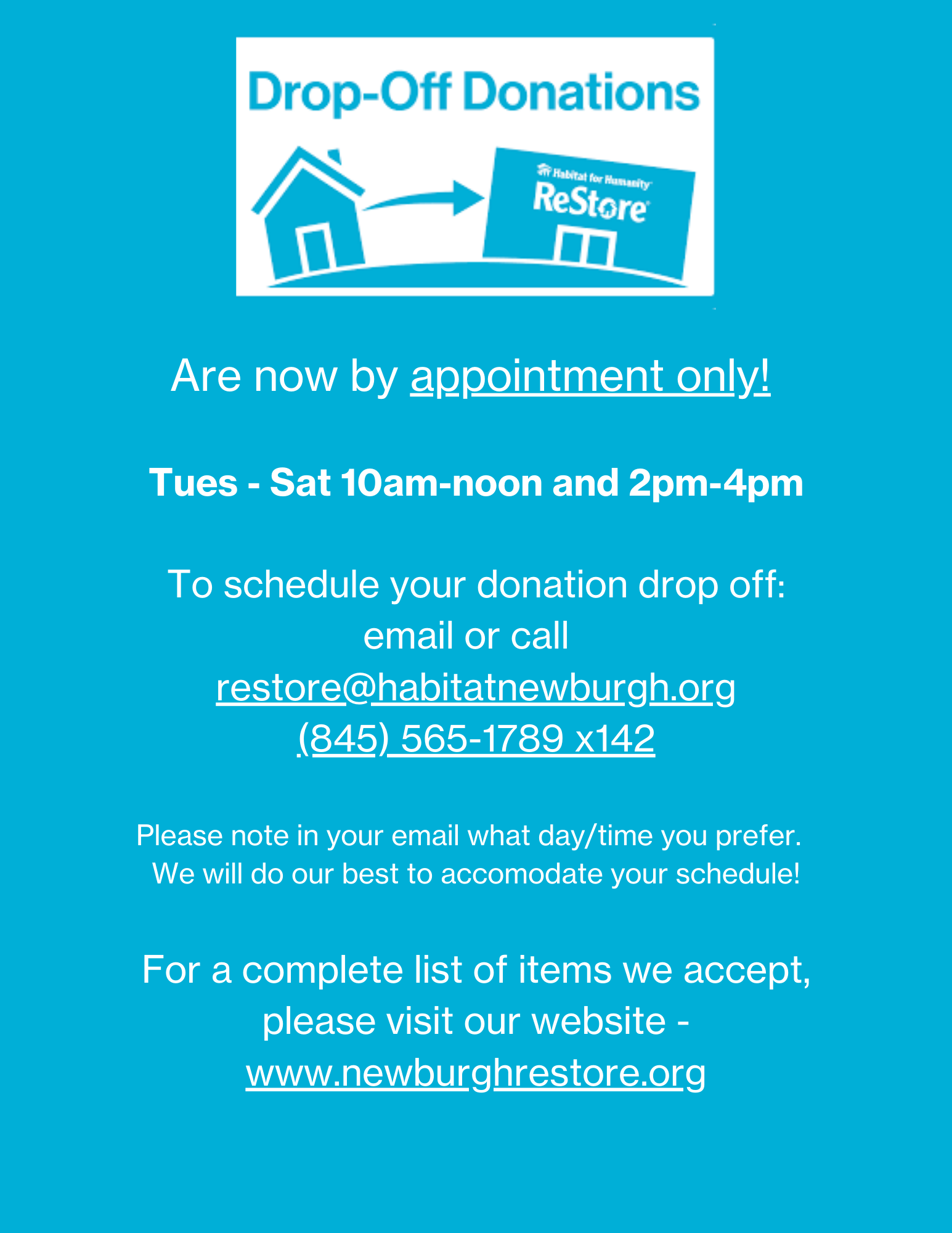 ReStore Drop Off Donations - Schedule Your Appointment Today!