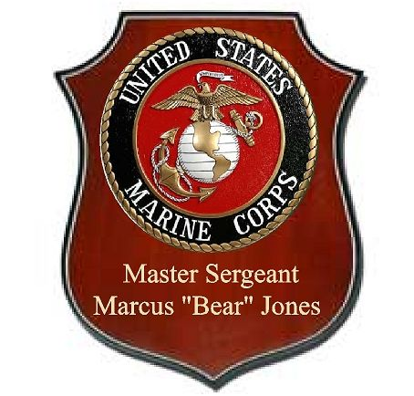 V31480 - USMC Personalized Mahogany Shield  Plaque with Carved Emblem