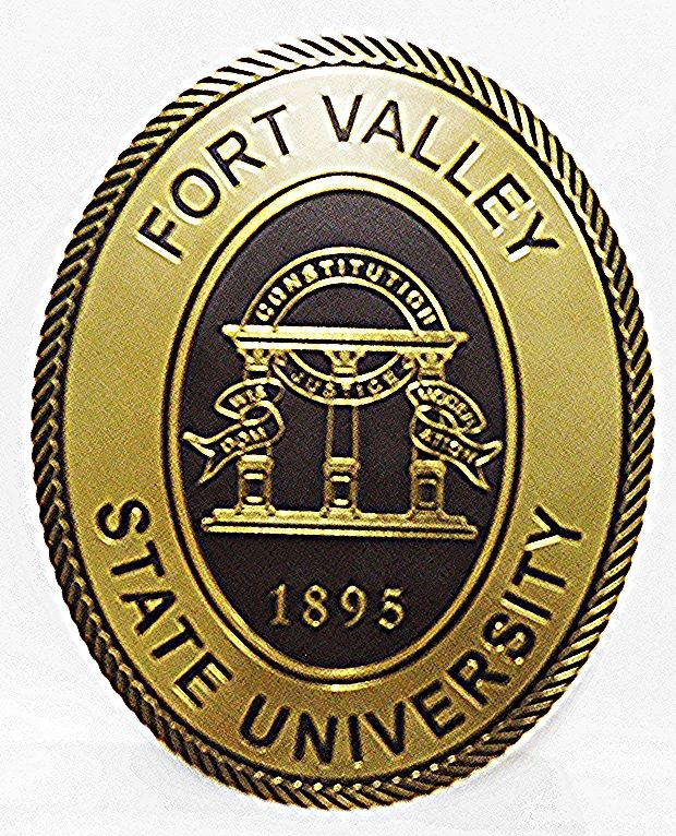 RP-1310 - Carved Plaque of the Seal of Fort Valley State University,  2.5-D Multi-Level Relief, Brass-Plated with Gold-Leaf Gilded Artwork